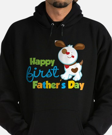 Puppy Dog Happy 1st Fathers Day Hoodie (dark)