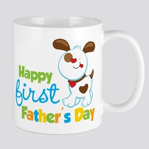 Puppy Dog Happy 1st Fathers Day Mug