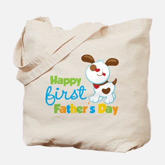 Puppy Dog Happy 1st Fathers Day Tote Bag