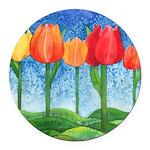 Tulip Trees Round Car Magnet