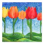 Tulip Trees Square Car Magnet 3