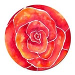 Red-Orange Rose Round Car Magnet