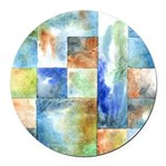 Slated Watercolor Round Car Magnet