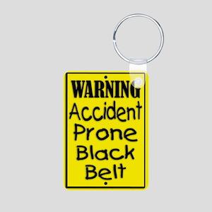 Accident Prone Black Belt Aluminum Photo Keychain
