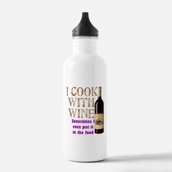 ICookWithWine.PNG Water Bottle