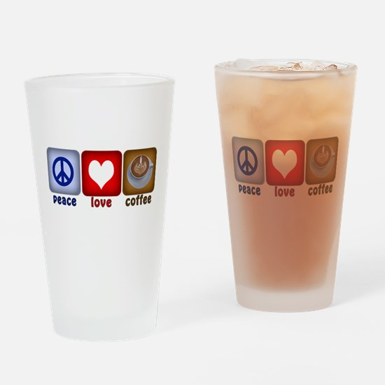 PeaceLoveCoffee-Sideways.PNG Drinking Glass