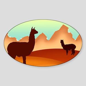 llamas mt. Oval Sticker