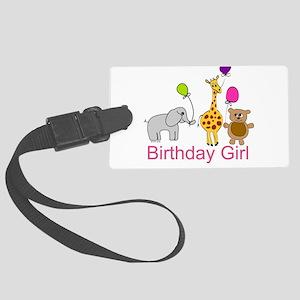 Birthday Girl Zoo Animals Large Luggage Tag