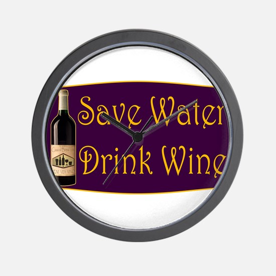 SaveWaterDrinkWine3.PNG Wall Clock