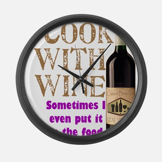 ICookWithWine.PNG Large Wall Clock