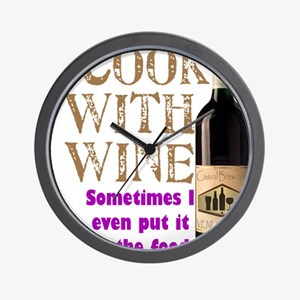 ICookWithWine.PNG Wall Clock