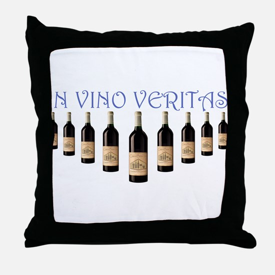 InVinoVeritasWineBottles.PNG Throw Pillow