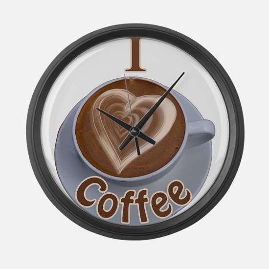 ILoveCoffeeCup.PNG Large Wall Clock