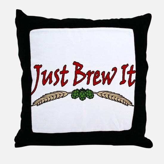 JustBrewIt-White Throw Pillow