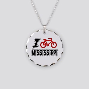 I Love Cycling Mississippi Necklace Circle Charm