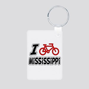 I Love Cycling Mississippi Aluminum Photo Keychain