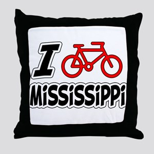 I Love Cycling Mississippi Throw Pillow