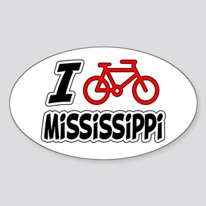 I Love Cycling Mississippi Sticker (Oval)