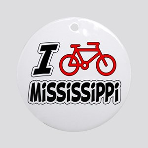 I Love Cycling Mississippi Ornament (Round)