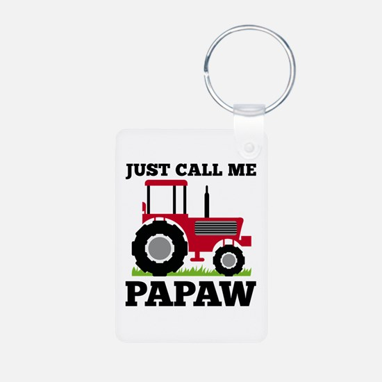 Just Call me Papaw Red Tractor Keychains