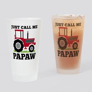 Just Call me Papaw Red Tractor Drinking Glass