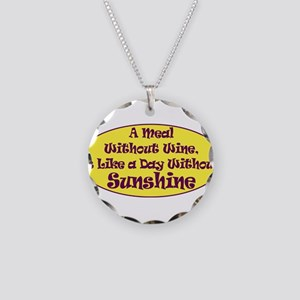 A Meal Without Wine Necklace Circle Charm