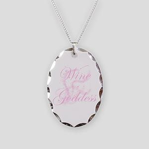 WineGoddessGlitter Necklace Oval Charm