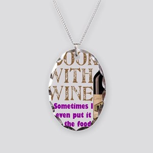 ICookWithWine Necklace Oval Charm