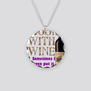 ICookWithWine Necklace Circle Charm