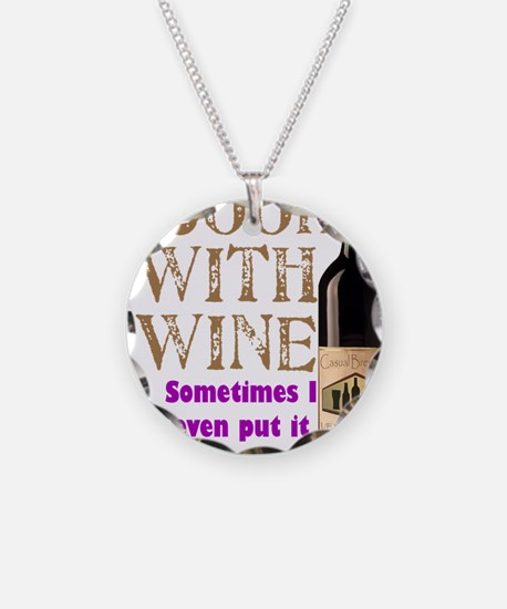 ICookWithWine.PNG Necklace Circle Charm