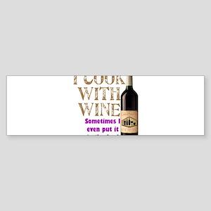 ICookWithWine Sticker (Bumper)
