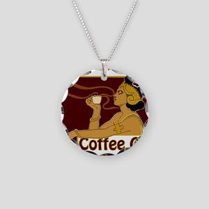 Nouveau Coffee Girl Necklace Circle Charm