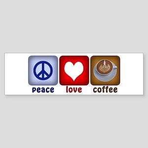 PeaceLoveCoffee-Sideways Sticker (Bumper)