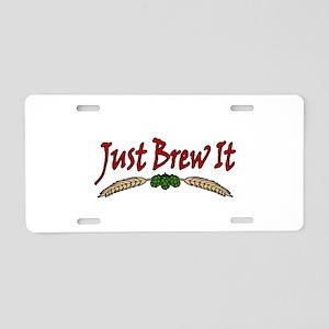 JustBrewIt-White Aluminum License Plate