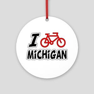 I Love Cycling Michigan Ornament (Round)