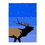 Winter Bugling Elk 5'x7'Area Rug