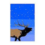 Winter Bugling Elk Mini Poster Print