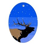 Winter Bugling Elk Oval Ornament