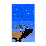 Winter Bugling Elk Rectangle Car Magnet