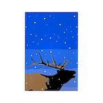 Winter Bugling Elk Rectangle Magnet (10 pack)