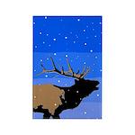 Winter Bugling Elk Rectangle Magnet (100 pack)