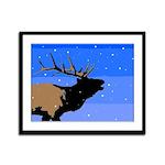 Winter Bugling Elk Framed Panel Print