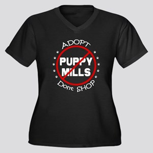 Adopt Don't Shop Women's Plus Size V-Neck Dark T-S