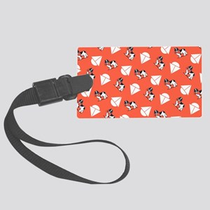 Landseer Newfie Tomato Sailboats Large Luggage Tag
