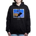 Winter Bugling Elk Women's Hooded Sweatshirt
