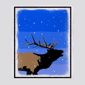 Winter Bugling Elk Throw Blanket