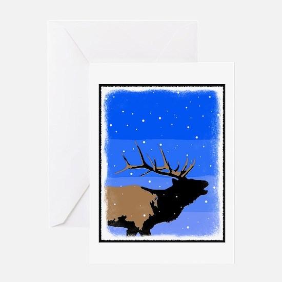 Winter Bugling Elk Greeting Card