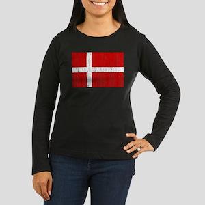 Denmark Flag Women's Long Sleeve Dark T-Shirt