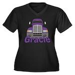 Trucker Gracie Women's Plus Size V-Neck Dark T-Shi
