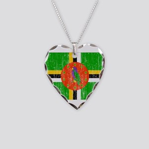 Dominica Flag Necklace Heart Charm